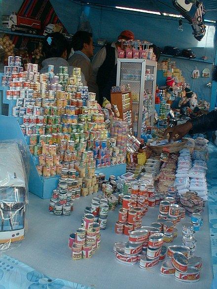 Puesto de venta de almientos en miniatura