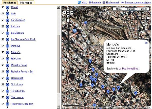 Pubs de La Paz en Google Maps