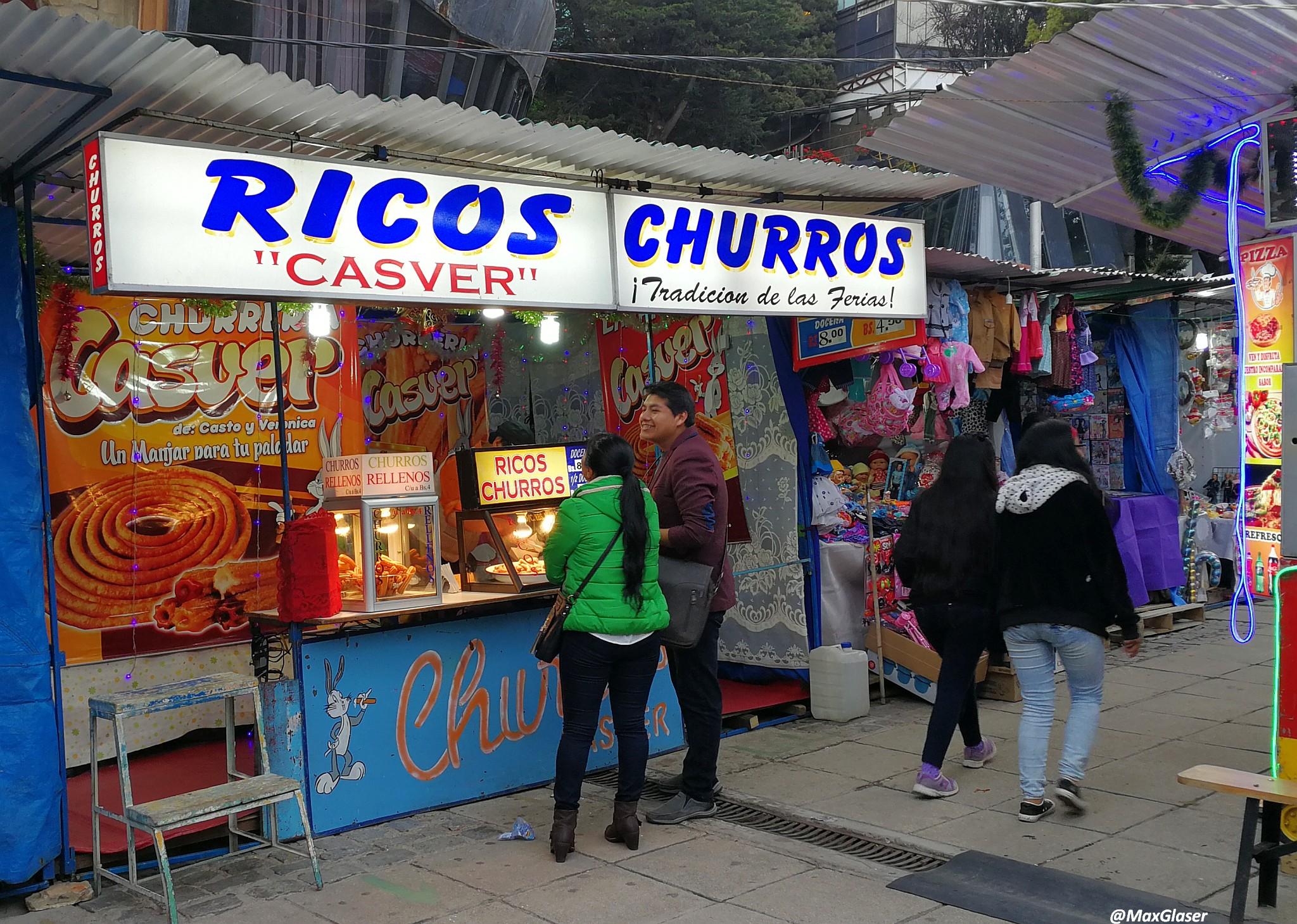 Puesto de Churros en la Feria Navideña de La Paz 2019